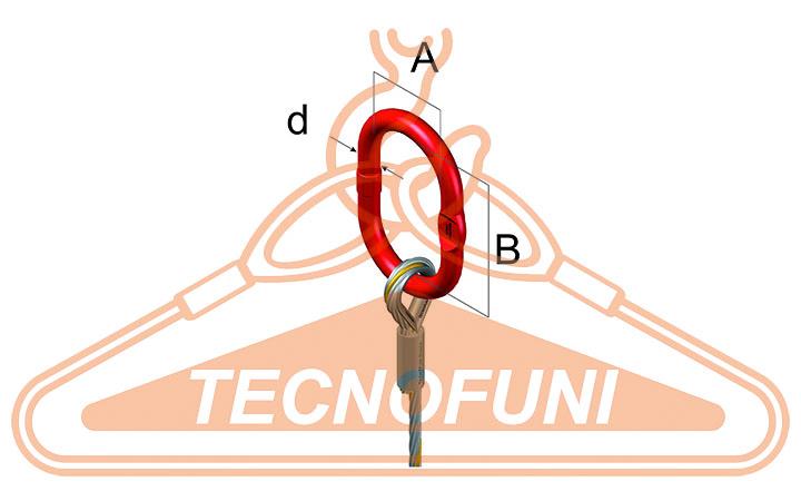 Tirante 1 braccio fune acciaio: Dimensioni campanella