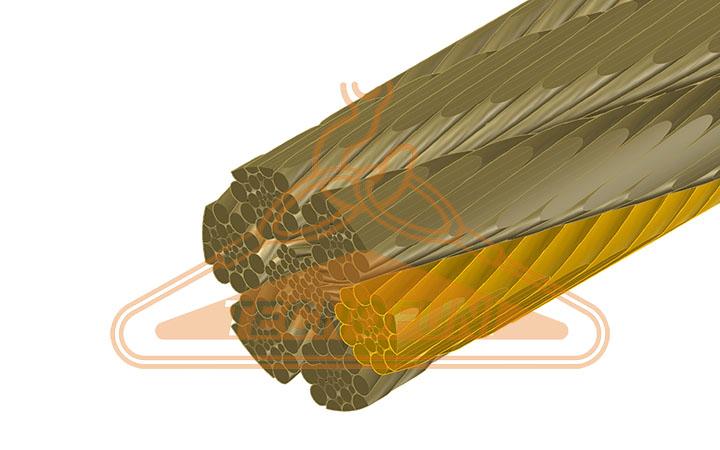 Fune acciaio super martellata 156 fili Warrington Seale alta resistenza anima metallica