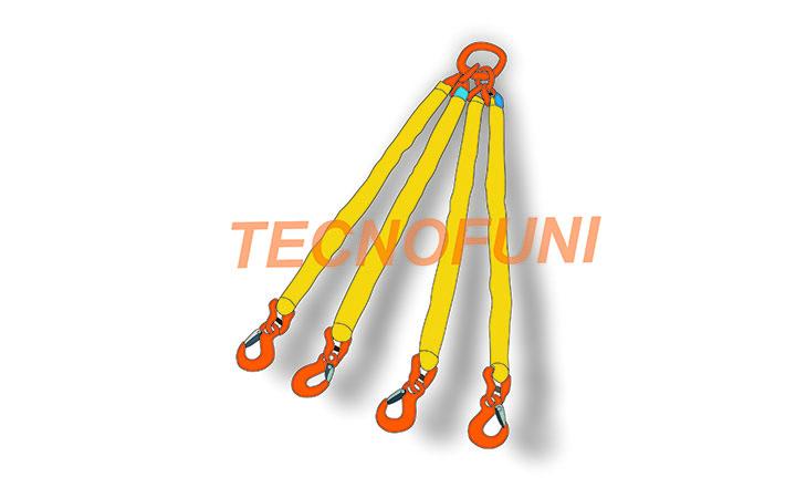 Tiranti a quattro bracci in poliestere con campanella tripla e ganci per sollevamento